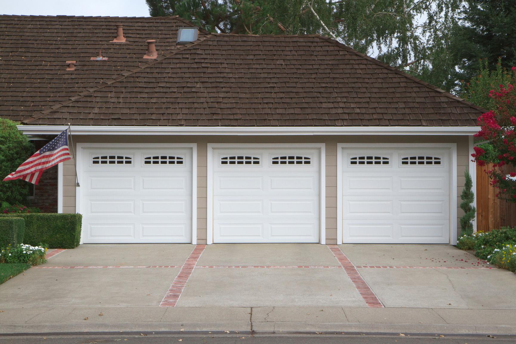 exceptional three door garage #1: Three car garage flag